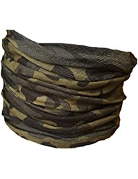 Multifunction Neckwarmer, Snood, Hat, Scarf and Hood with Green camo print by Monogram