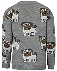 Online Fashion Store Grey Multi Pug Dog Print Long Sleeve Crew Neck Knitted Sweater Jumper Top