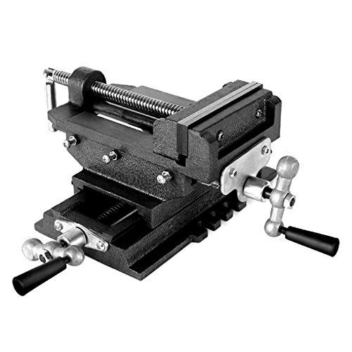 EBERTH 2 Achsen Kreuztisch (125 mm Backenbreite, Spannbreite 98 mm, Querhub 110 mm, Schwalbenschwanzführung, massive Bauweise)
