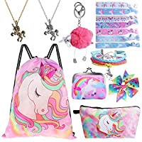 Drawstring Backpack for Unicorn Gift for Girls Include Makeup Bag Bracelet Necklace Set Hair Ties for Unicorn Party Favors