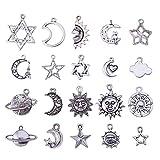 PandaHall Elite 40 Stücke Tibetischen Stil Mond Sterne Charms Sonne Universum Serie Thema Legierung Anhänger Für Schmuck Machen Oder Halskette, antike Silber Farbe, Gemischte Größe