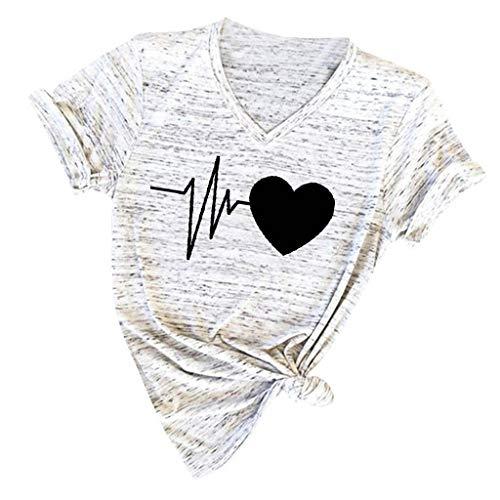 Damen T Shirt, CixNy Bluse Damen Kurzarm Sommer Mode Locker Ärmelloses Herz Drucken Lässig O Hals Oberteil Tops (M, SchwarzB)