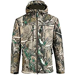 SAENSHING Chaqueta de Caza Soft Shell para Hombre Camuflaje Impermeable al Aire Libre con Capucha Abrigo para el Senderismo, Camping, Pesca (XL)