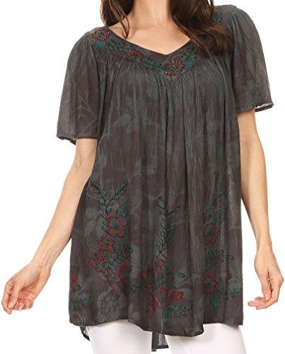 Sakkas S141389 - Kyla Relaxed Fit Blumen Sequin Besticktes V-Ausschnitt Cap Sleeve Bluse/Top - Grau - OS -