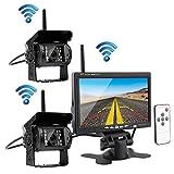 Podofo Wireless Rckansicht Rckfahrkamera Nachtsicht wasserdicht 2 * 18 IR-LED-Rckfahrkamera + 7-Zoll-TFT-LCD-Monitor fr RV LKW-Anhnger-Bus