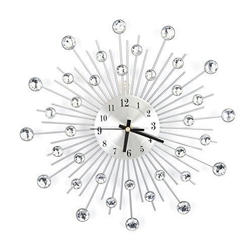 Horloge Murale Design Moderne Silencieuse en Métal et Strass Artificielles pour Décoration Cusine Chambre Salon Bureau 30x30cm