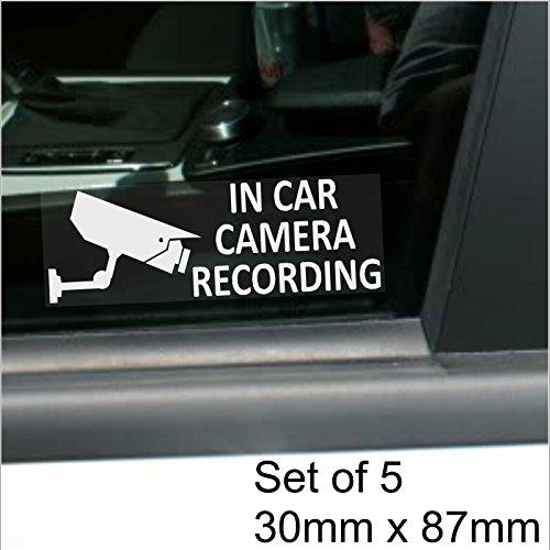 5 x KFZ-Kameraaufzeichnung-Fenster STANDARD Kamera-Wandsticker, 87 mm x 30 mm White Clear on-CCTV-Schild, Lieferwagen, LKW, KFZ, LKW, Bus und Taxi, Mini, Minicab Cab-Security-Pro/Dashcam Go