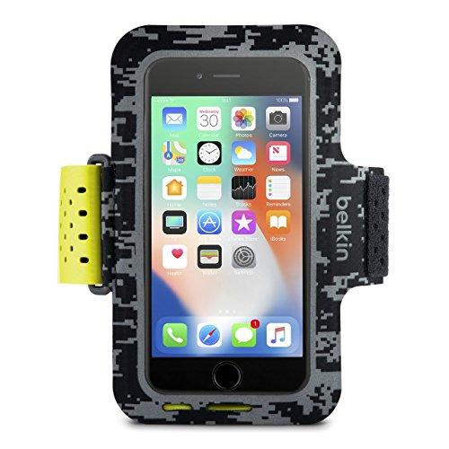 Belkin Sport-Fit Pro Fitness-Armband für iPhone8, iPhone 7, iPhone 6/6s (Smartphone frei zugänglich, geeignet für Hüllen, verstellbare Größe, schweißresistentes Fach für Karten/Kleingeld) schwarz