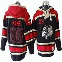 Gmjay Camiseta de Manga Larga NHL Chicago Blackhawks Patrick Kane # 88 Jersey Negro con Capucha Trikot Cosido Letras Números NHL,Black,XXL