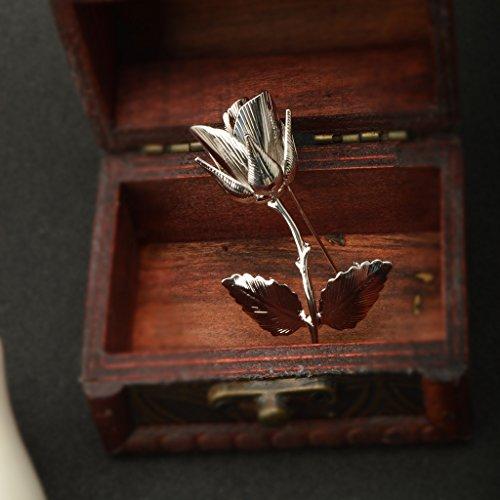 Elégant Broche Plaqué Or 24k en Forme de Fleur Rose Cadeau Homme Pour Costume Mariage-6,7x4,3cm Platinum Tone