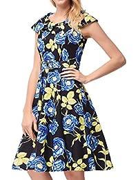 HEFEI 2018 Nuevo Estampado de Flores con cinturón de Cuello Azul Marino Un Vestido Retro de Palabra Vestido XIAOXIAO (Color : Azul,…