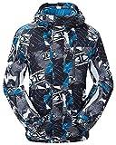 NEWISTAR Chaquetas de esquí para Hombre Desmontable con Capucha Bluish Gris Impermeable a Prueba de Viento Respirable niños Abrigos de Nieve pequeña