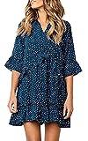 ECOWISH Damen Kleid V Ausschnitt Rüschen Punkte Sommerkleider Halbarm Mini Strandkleider Casual Lose T-Shirt Kleid Blau M