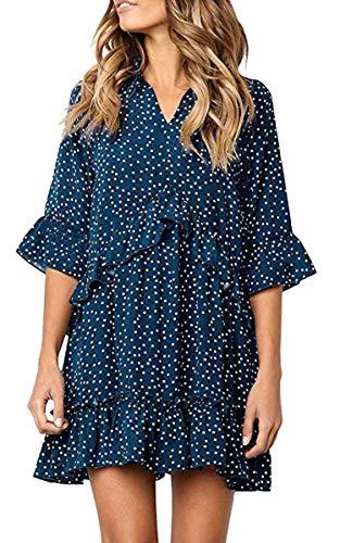 ECOWISH Damen Kleid V Ausschnitt Rüschen Punkte Sommerkleider Halbarm Mini Strandkleider Casual Lose T-Shirt Kleid Blau XL
