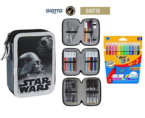 Plumier estuche cremallera triple 3 pisos Star Wars 42 piezas contenido Giotto + REGALO 12 Rotuladores BIC Kids