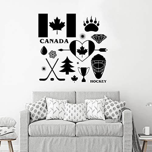 WWYJN Country Canada Signs Wall Decal Hockey Symbol Vinyl Wall Mural Removable Canada Wall Poster Home Decoration Gray 57x57cm -