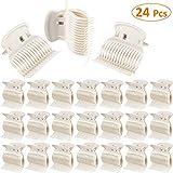 Rodillos calientes de 24 piezas Clips de rizador de pelo Clips de garra Rodillos de plástico para rodillos pequeños, medianos, grandes y grandes (Blanco)