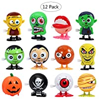 BESTOYARD 12PCS Wind Up Toys Halloween Goody Bag Assorted Jumping Wind Up Toy Mini Toy Preschool Toy For Kids Gift Pack