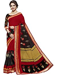 Ishin Jute Silk Red & Black Printed With Lace Party Wear Wedding Wear Casual Wear Festive Wear New Collection...