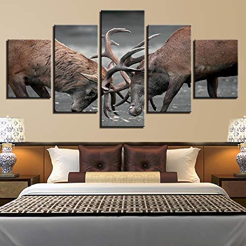 kxdrfz Leinwand Gemälde Für Wohnzimmer Wohnkultur Rahmen 5 Stücke Tiere Geweih Hirsche Bilder HD Drucke Dollars Poster Wandkunst-Frame