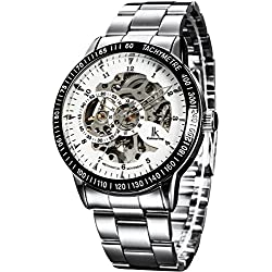 Alienwork IK Automatic Watch Self-winding Skeleton Mechanical Stainless Steel white silver 98226-02