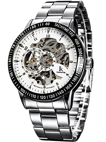 Alienwork IK Armbanduhr 98226-02, automatisch Skelett Mechanik Edelstahl weiß Silber.