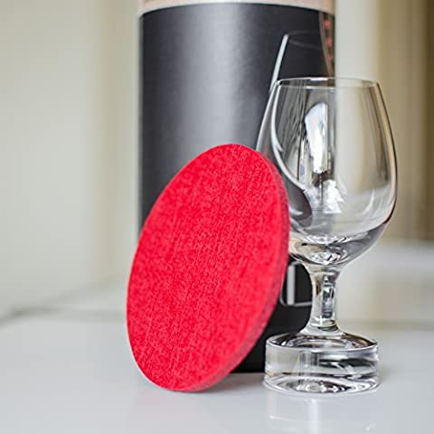 Superhome® Figlati Glass Coaster | Spring Range | Set of Round Felt Coasters | Set of 8 | Diameter: 10 cm | 6 Different Colours | Made in EU red