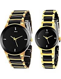 Xforia Casual Golden Watch For Men And Women Ishine-sib-Combo-18 (Pack Of 2)