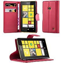 Cadorabo - Funda Nokia Lumia 520 Book Style de Cuero Sintético en Diseño Libro - Etui Case Cover Carcasa Caja Protección (con función de suporte y tarjetero) en ROJO-CARMÍN