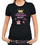 ShirtStreet Fasching Karneval Damen T-Shirt mit Das ist Mein Prinzessin Kostüm 1 Motiv, Größe: L,Schwarz