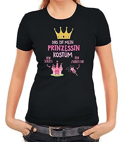 Fasching Karneval Damen T-Shirt mit Das ist mein Prinzessin Kostüm 1 Motiv von ShirtStreet, Größe: M,schwarz