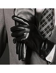 Gants en cuir d'hiver pour les hommes minces de conduite plus d'écran tactile rembourré de velours gants en peau de couple,XL,C