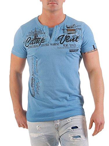 Violento Herren T-Shirt Freizeitshirt Polo Hemd Kurzarm Shirt Sportswear Casual Vintage Washed 3065 3065-hellblau
