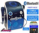 Mr Entertainer Bluetooth Home Karaoke Machine Party Pack (Plays Karaoke & Music CDs) - Includes Karaoke CDs and Two Mics - Boys / Girls (Connect to a TV to display lyrics from CD) Black / Blue (Party Pack 2 (2 CDs))