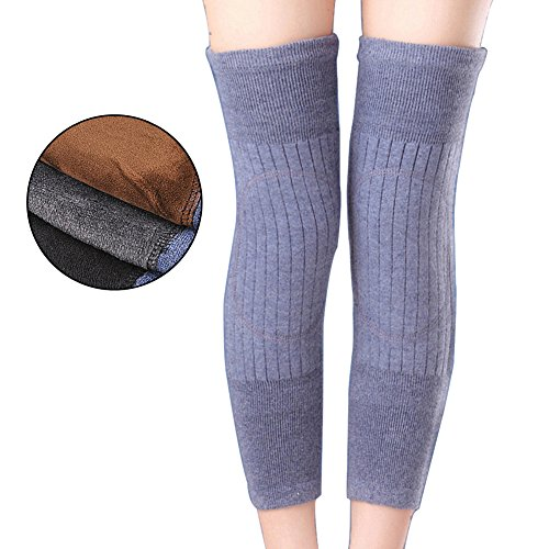 Butterme Unisex Thicken Lengthen Breathable Elastic Cashmere Wool Knee Warmers Knees Brace Support Kneecap Protector Keep Warm In Cold Weather (Light Grey) Test