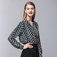 Impresos camisa de manga larga en el otoño y el invierno de las mujeres de manga larga camisa de manga larga camisa de manga larga con cuello en V,Verde,XL