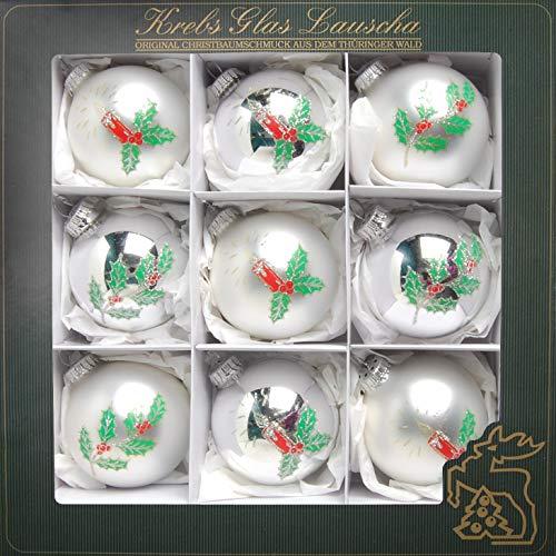 Krebs Glas Lauscha Glaskugelsortiment 9-Fach - Christbaumschmuck - Weihnachtsbaumschmuck - Ilex Kerzendesign - in Silber - Größe: 8cm