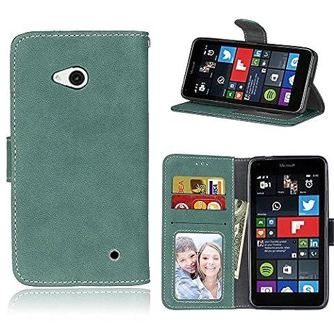 Lumia 640 Coque, SATURCASE Rétro Givré PU Cuir Magnétique Flip Portefeuille Support Porte-carte Coque Housse Étui Pour Nokia / Microsoft Lumia 640 LTE (Vert)