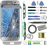 ACENIX® Kit de reparación de lente de cristal de repuesto para pantalla exterior delantera para Samsung Galaxy S7 Edge plateado + cinta de 2 mm y herramientas de apertura