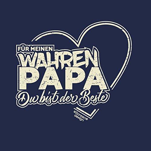 Herren Vatertag Geschenk / T-Shirt im Set auch zum Geburtstag Größen bis 5XL Print Aufdruck Für meinen wahren Papa Farbe: navy-blau Navy-Blau