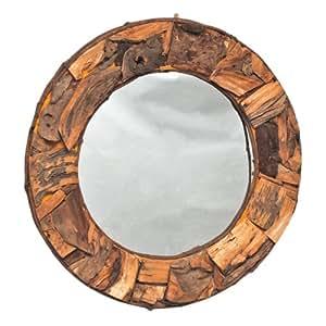 spiegel mit holzrahmen wandspiegel natur braun unikat rund. Black Bedroom Furniture Sets. Home Design Ideas