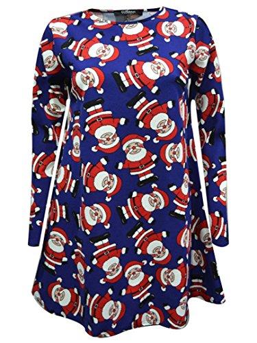 d Gr. Medium, Multi Santa Blue Swing Dress (Blue Santa Kleid)