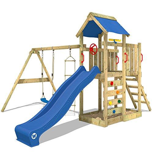 WICKEY Spielturm MultiFlyer - Klettergerüst mit Schaukel, Strickleiter, Kletterwand und -leiter, blauer Plane, blauer…