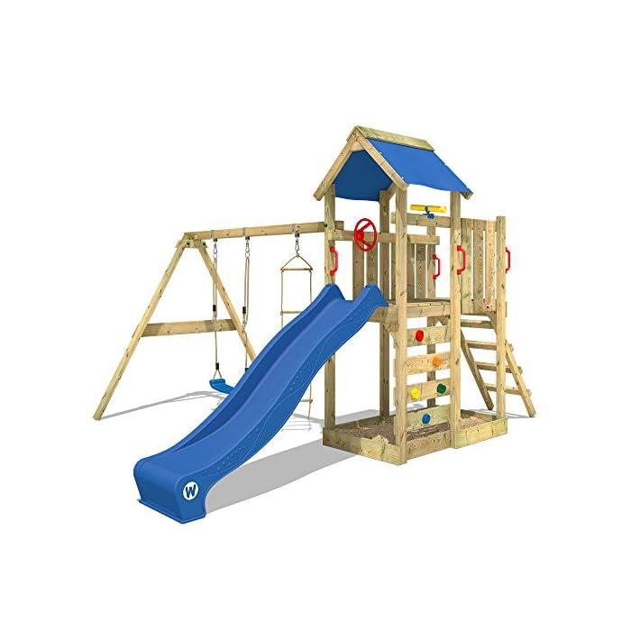 WICKEY Spielturm MultiFlyer Kletterturm Spielplatz Garten mit Schaukel, Rutsche und Kletterwand 1