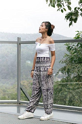 Lofbaz Donna Harem Colorato Smocked Waist Boho Pantaloni Yoga Pilates Funky Viola scuro