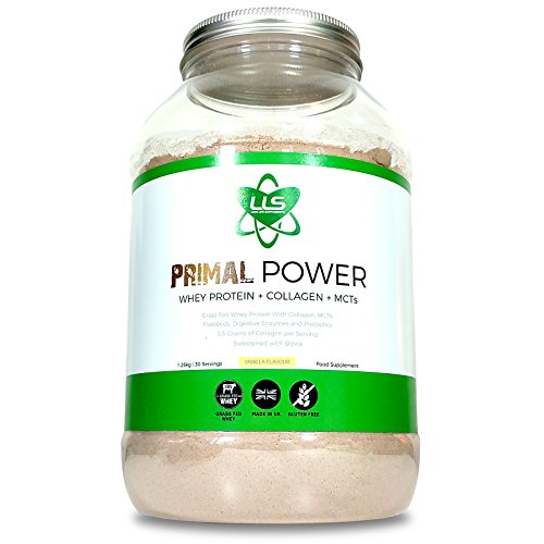 LLS PRIMAL POWER | 100% Grass Fed Whey Protein Concentrate / Meal Replacement Shake with Medium Chain Triglycerides (MCTs) From Coconut, Flaxseed, Digestive Enzymes, Fructooligosacchardies (Prebiotic) and now added COLLAGEN! | Sweetened Naturally with Stevia | Vanilla Flavour | 1.26kg Tub / 30 Servings Test