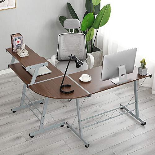 soges Mesa en Forma de L Escritorio en Forma de Esquina Mesa de la Oficina Oficina de Juegos Mesa de Estudio de Juegos Grandes Oficina en casa,DX-402C1-BS