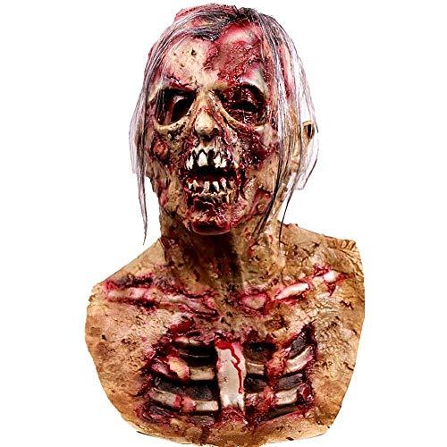Liumintoy Halloween Walking Dead Full Mask, Resident Evil Monster Mask Decorazioni, Zombie Costume Party Gomma Maschera in Lattice per Halloween