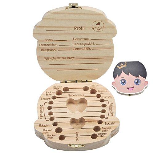Mogoko [Deutsch Version] baby Kinder Original Holz Haar Milchzahndose Milchzähne Zähne box Kasten Souvenir Aufbewahrungsbox (Farbig Prinz)