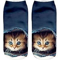 calcetines termicos mujer invierno, Sannysis calcetines antideslizantes mujer calcetines yoga calcetines compresión calcetines mujer colores Calcetines cortos divertidos de tobillera casuales (Gato 3D Color D)